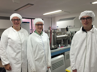 From left to right: Ellie, Martha Sefton (another student who was here for two days working with us) and Will in the clean laboratory.