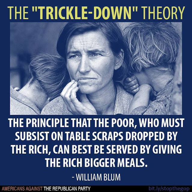 Graphic:  Trickle-Down Economics, the theory that the poor, who must subsist on table-scraps from the rich, can best be served by giving the rich bigger meals.