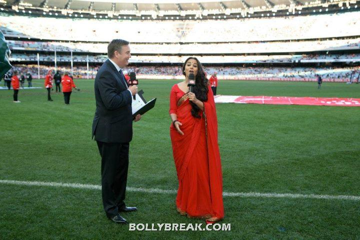 Vidya Balan at MCG in Red Saree - Vidya Balan in Red Saree at Melbourne Cricket Ground