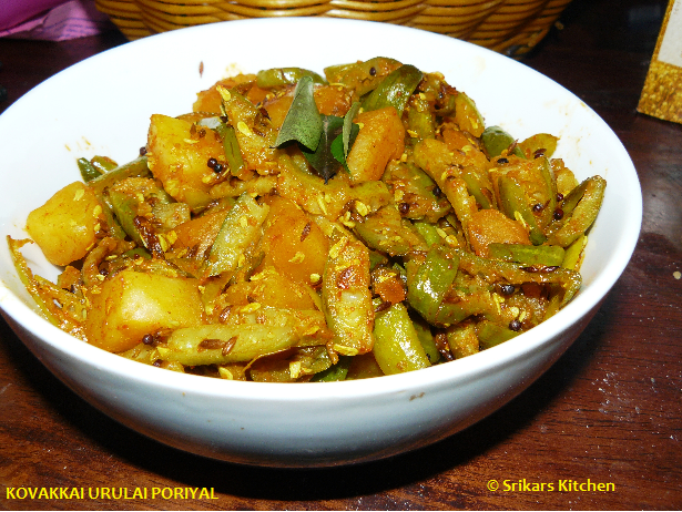 TINDORA ALOO CURRY- KOVAKKAI URULAI PORIYAL- IVY GOURD POTATO CURRY