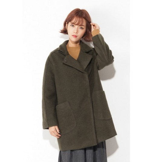 Drop High Neck Wool Coat