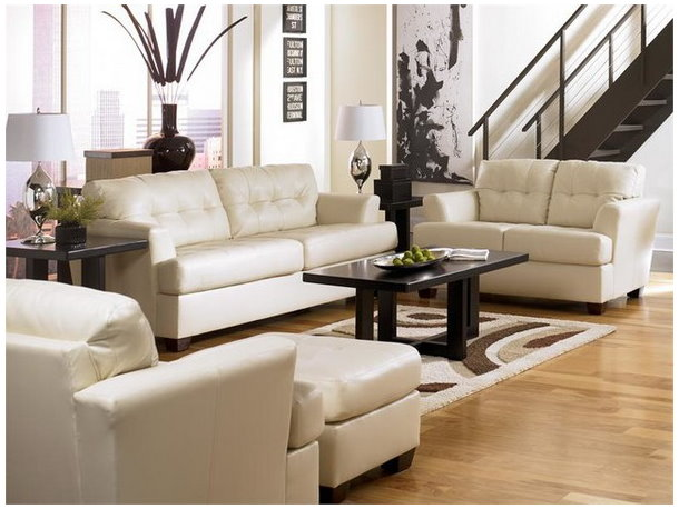 contemporary-white-leather-living-room-furniture - Modern Leather Furniture For Cozy Living Room