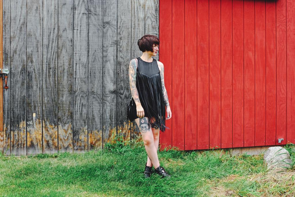 Wear a black leather fringe dress to a wedding - Wisconsin Farm Wedding