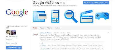 Adsense Google+ Page