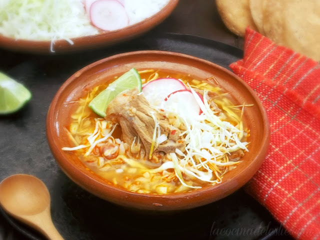 Mexican Red Pork Pozole recipe - lacocinadeleslie.com