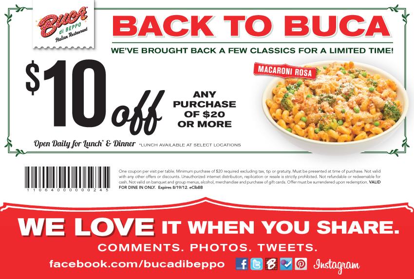 Buca di beppo coupon code