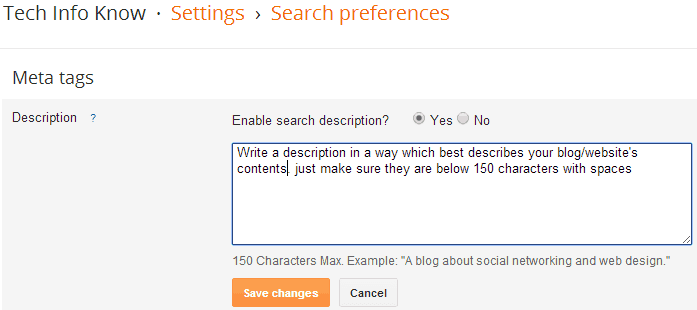 Add Meta Description to blogger blog