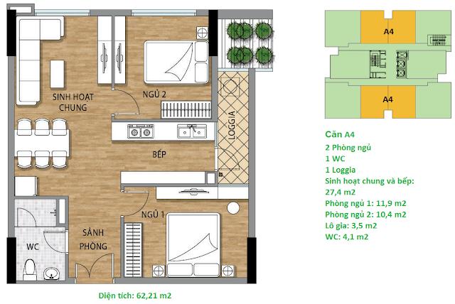 Căn hộ A4 diện tích 62,21 m2 tầng 4-15 - Valencia Garden