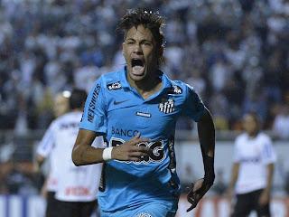 Neymar faz o gol do Santos no Corinthians