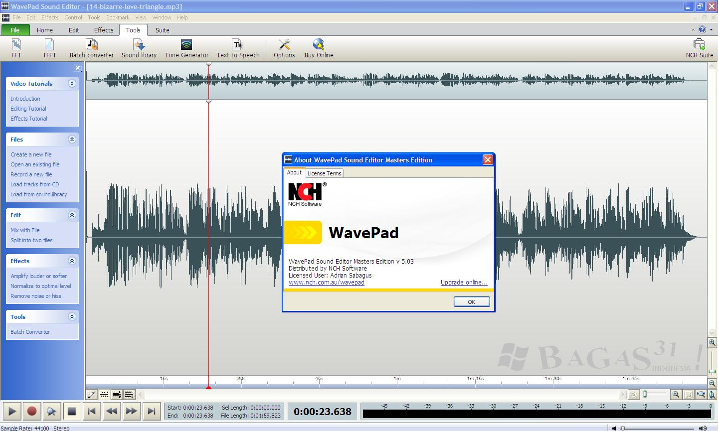Wavepad Sound Editor Master Edition 5.03 + Keygen
