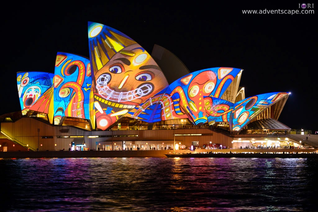 Philip Avellana, Australian Landscape Photographer, Vivid Sydney, Event, CBD, NSW, New South Wales, Australia, lighting, long exposure, 2013, light pattern, Sydney Opera House, Lunar Park, face
