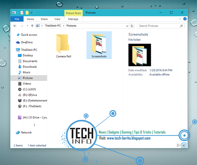 Merubah default folder screenshot di windows 10