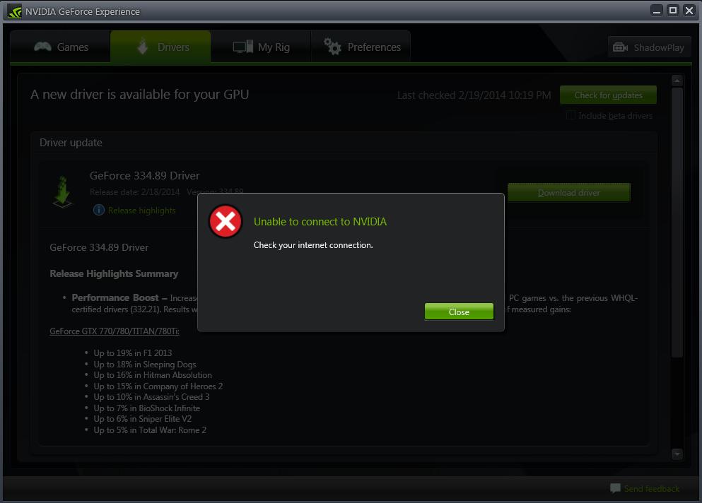 Geforce Experience Driver Download Error