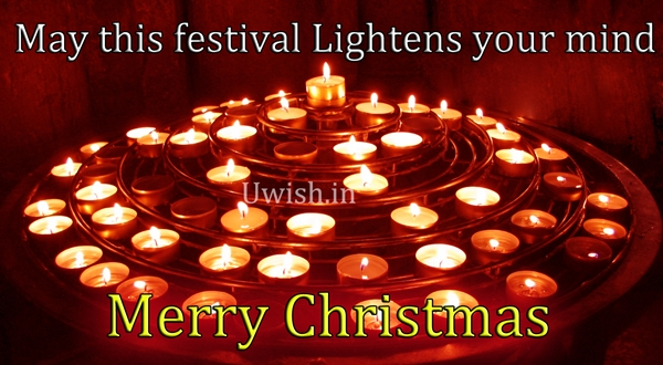 Merry Christmas wishes and greetings with lovely candles as orbit lights.