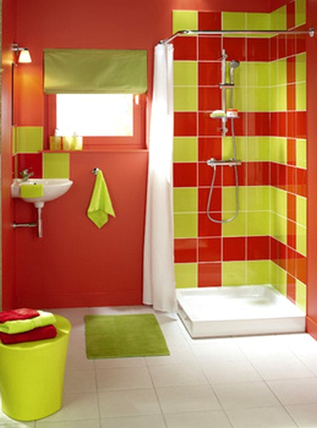 Art d co for Salle de bain coloree