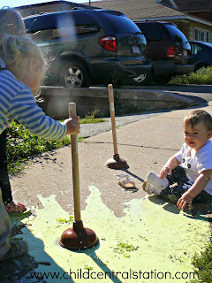 Cornstarch + Water = Oobleck in the Morning and Sidewalk Paint in the Afternoon