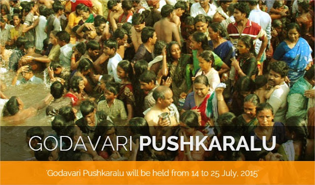 Godavari Pushkaralu 2015 dates, what is puskkaralu, pushkar ghats bathing in telangana, andhra pradesh, maharashtra, rajahmundry, nasik, karimnagar, adilabad, telangana tourism papikondalu, bhadrachalam with helpine number of trains and buses