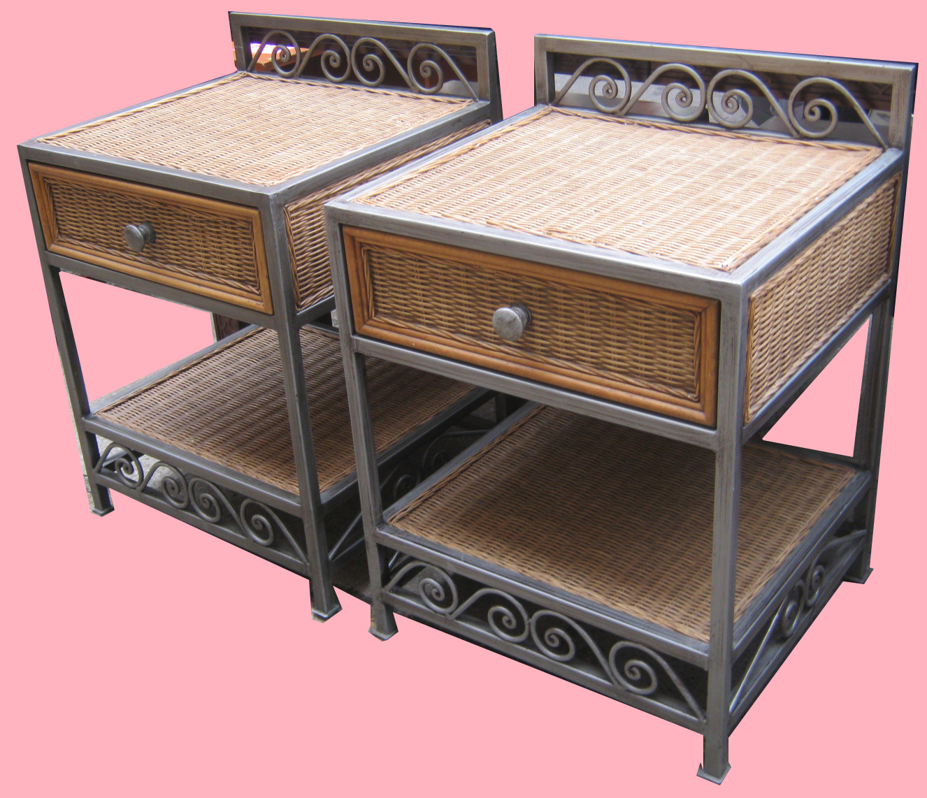 Wicker U0026 Brushed Metal Bedroom Furniture SOLD