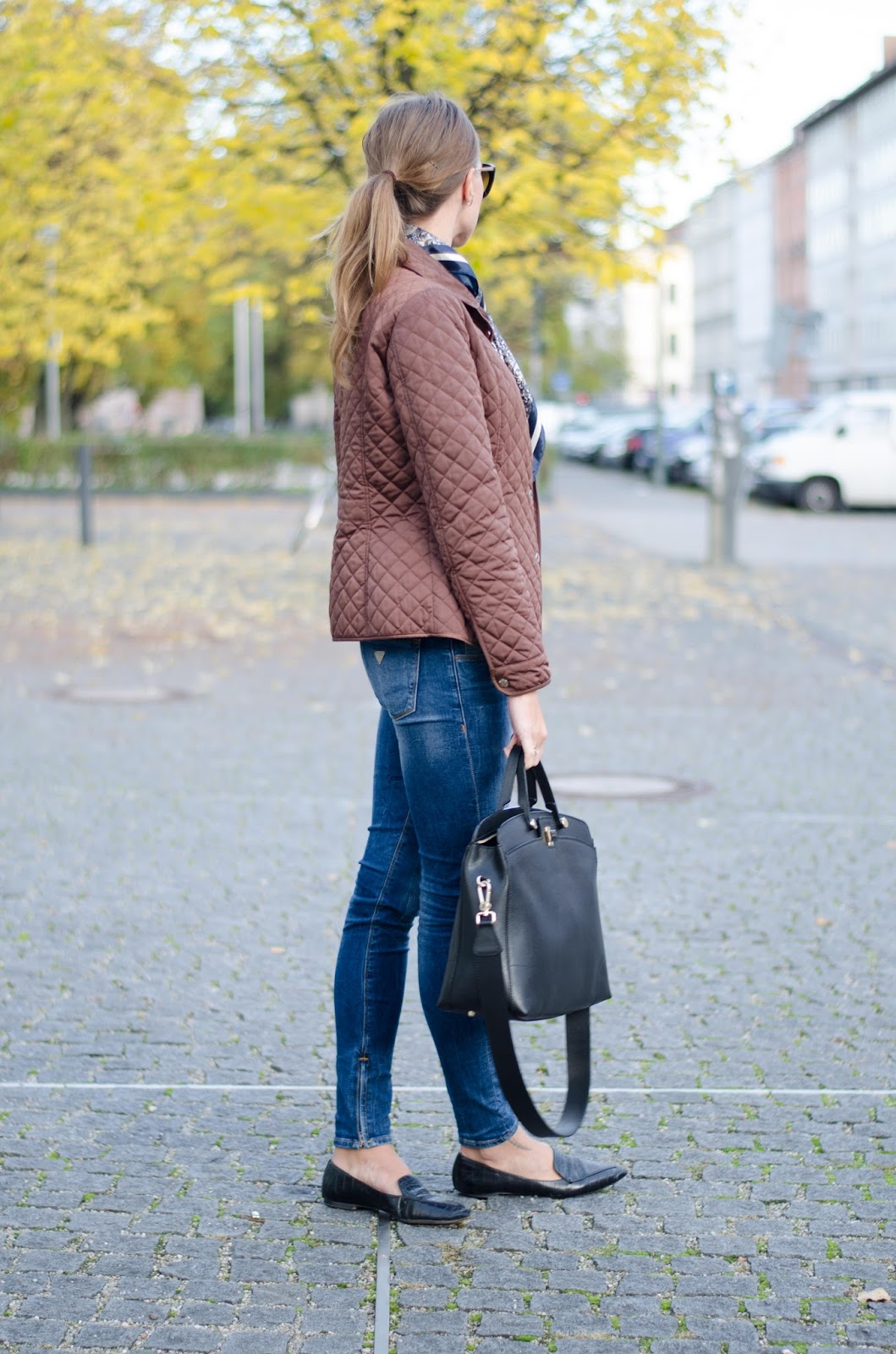 kristjaana mere fall outfit furla bag guess jeans mango flats massimo dutti jacket