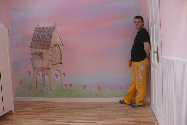 Nursery Kunst Malerei mural, aranżacja pokoju dziewczynki, Lublin
