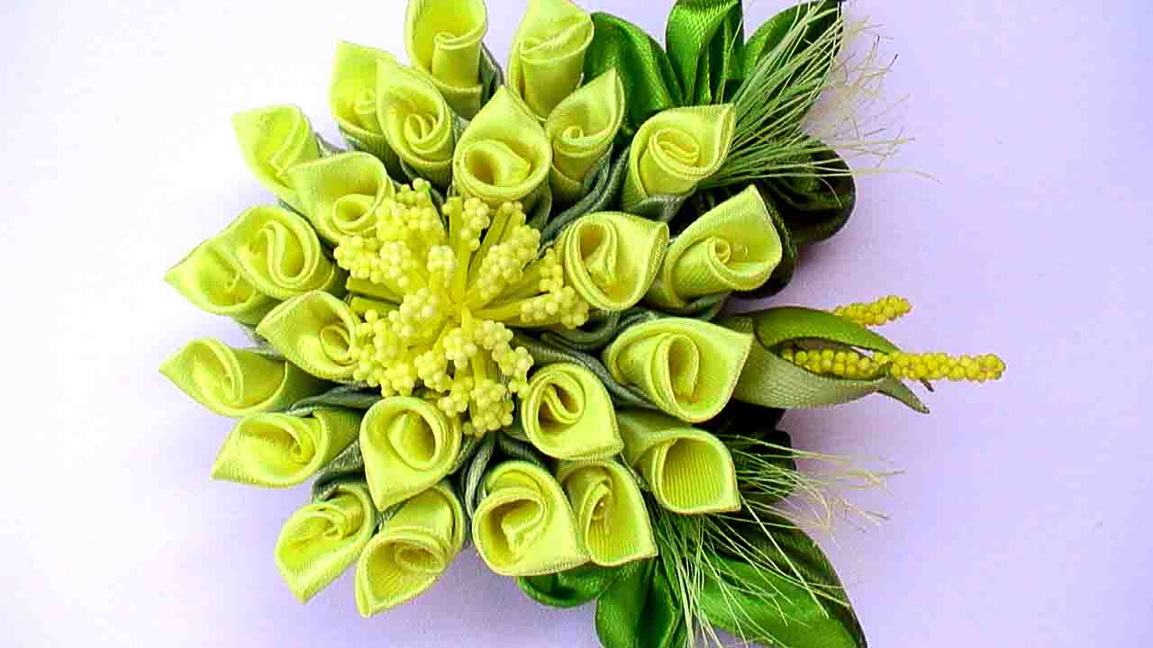 Цветы канзаши из ленты 2.5 см видео
