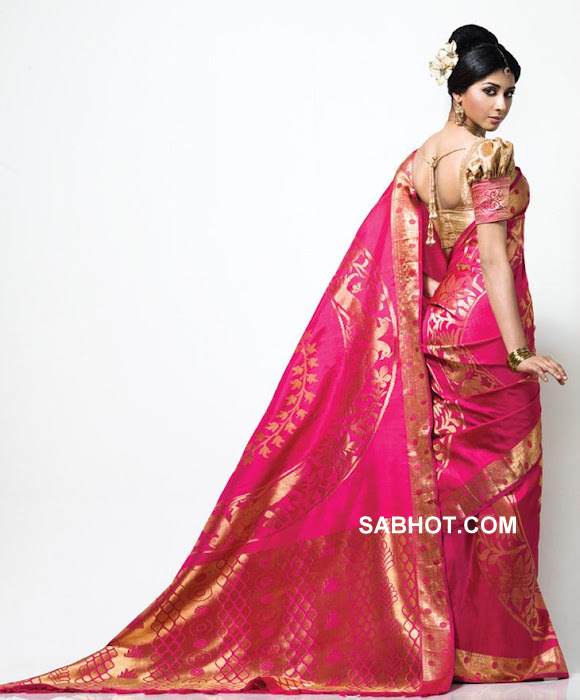 Gayathri back view with pink silk sari -  Gayathiri in pink saree