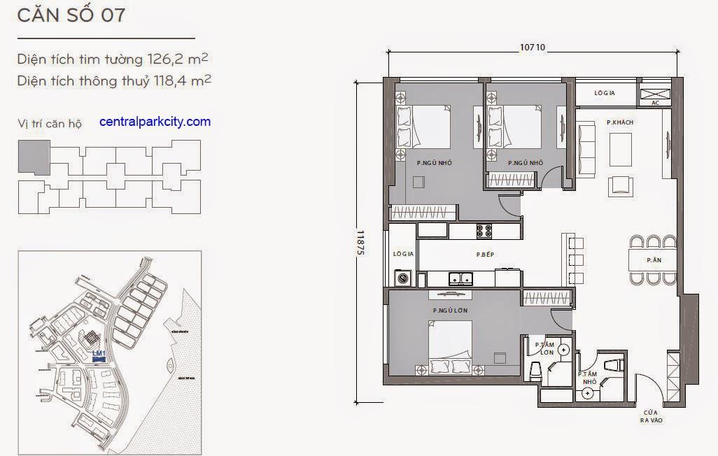 Căn hộ Landmark 1 - kiểu nhà số 07 - 126.7m2 - 3PN