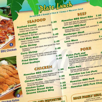 Plate lunch menu, Maui Hawaiian BBQ, Fountain Valley, California