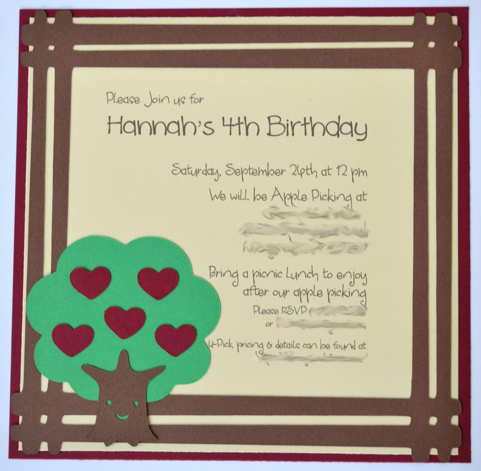 Apple Picking Birthday Invitation