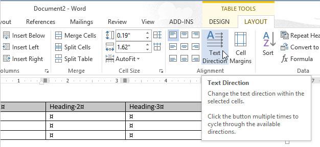 Cách thay đổi hướng của văn bản trong Word 2013 7