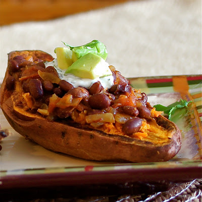 Have Recipes-Will Cook: Roasted Sweet Potatoes with Black Bean Chili