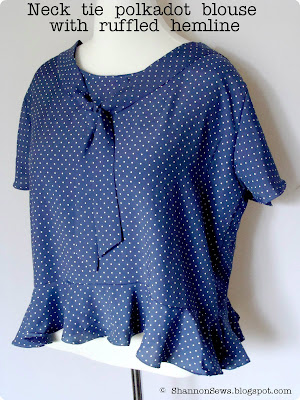 Sew a top without a pattern neck tie polkadot blouse with ruffled hemline
