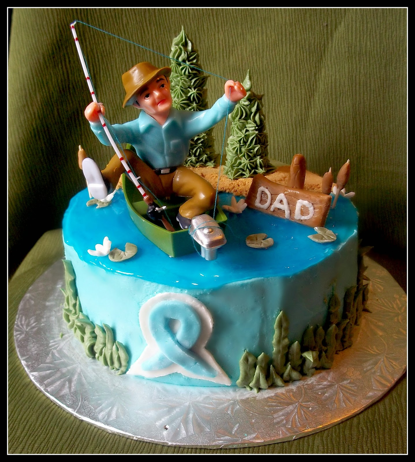 Birthday cake pictures fishing cakes men for Fishing birthday cake