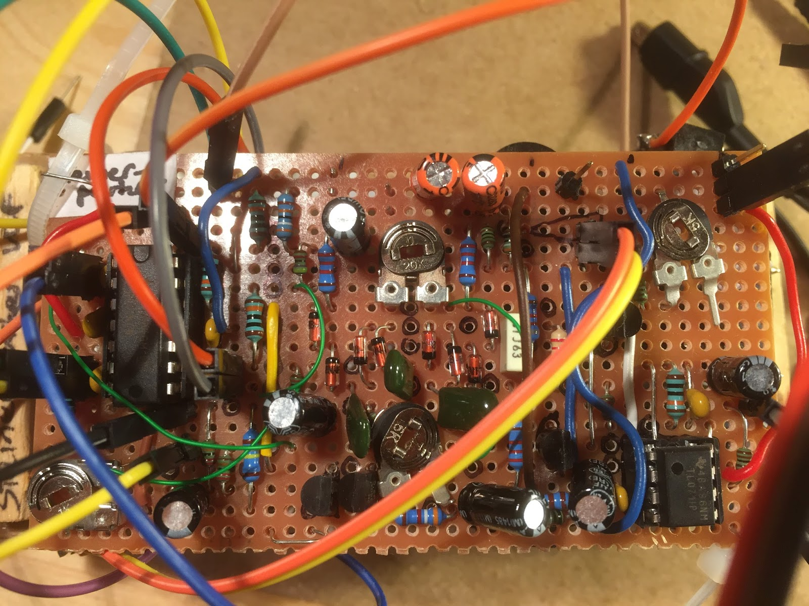 Fuzzy Music How To Build A Digital Potentiometer Circuit Using Mcp4131 This Is From The Cgs Schematic 100nf Bypass Cap For Tl071 Best Under Stripboard Darker Blue Resistors Could Be Replaced By Trimpots As