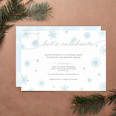 printable diy holiday party invitation snow snowflake blue winter snowfall