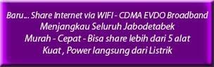 Share Wifi  Internet Cepat Broadband  menjangkau seluruh Jabodetabek