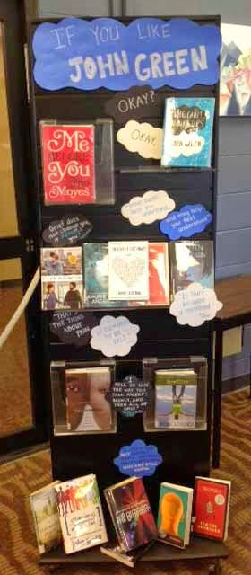 "Tall, vertical, John Green read-alike display featuring the covers of books similar to his YA novel, ""The Fault in Our Stars."" A cloud-shaped cut-out at the top of the display proclaims, ""If You Like John Green."""
