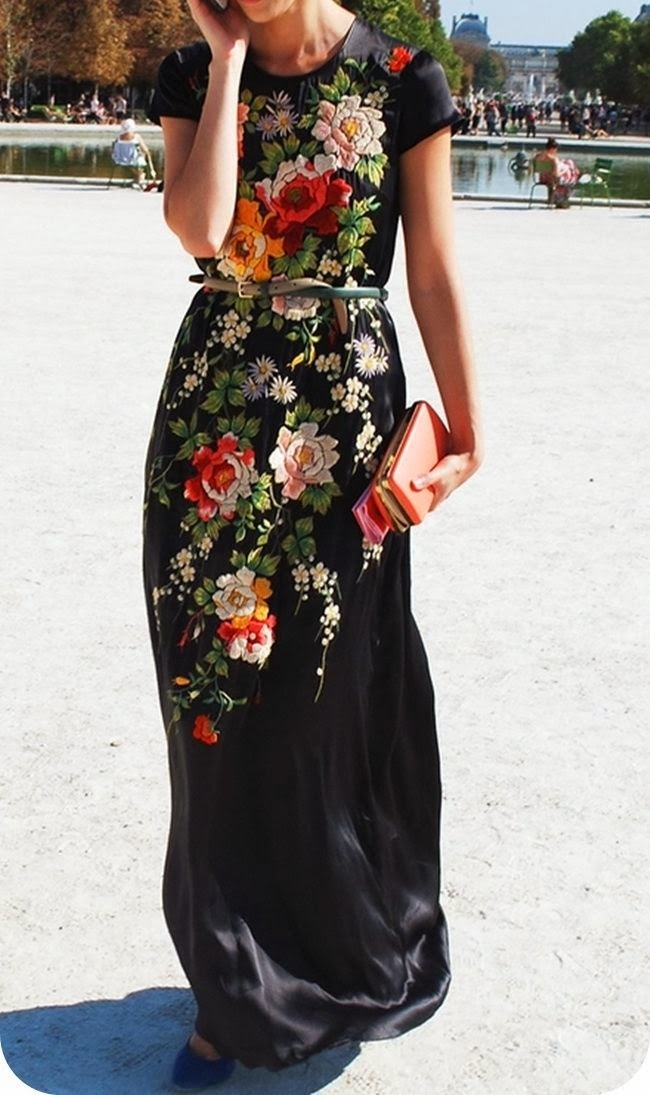 Black Floral Print Maxi Dress With Belt