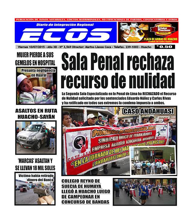Esta es la edición del Diario ECOS viernes 10 de julio del 2015
