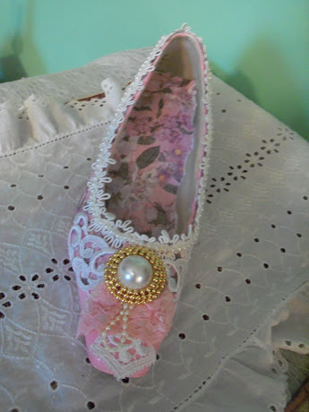 Pink Shabby Chic Altered Shoe