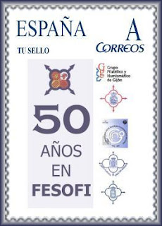 Futuro sello personalizado de los 50 años de Fesofi en Asturias