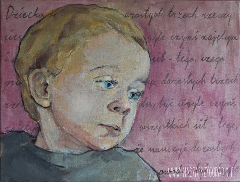child portrait, acrylic paint, Joanna Pabel-G