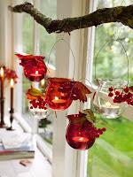 Висяща есенна декорация със свещи фенери
