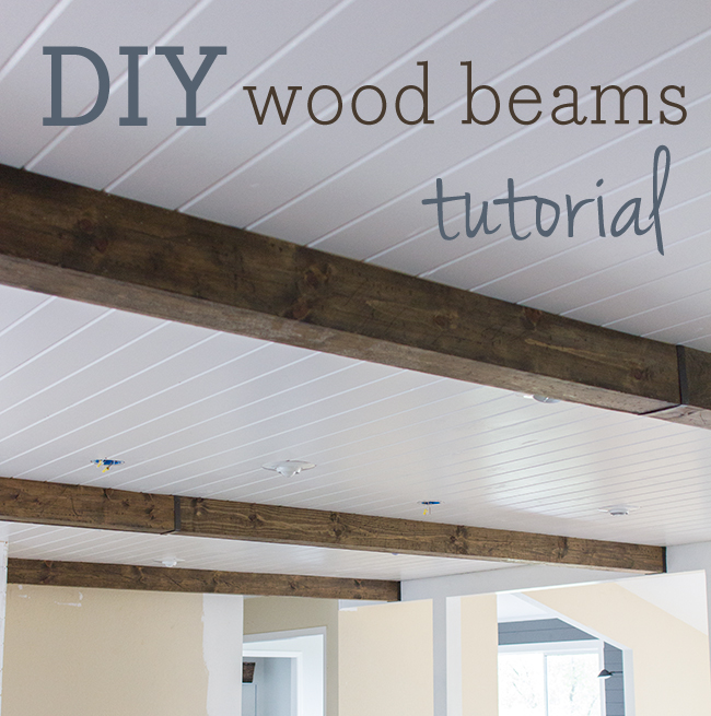 Kitchen chronicles diy wood beams jenna sue design blog for Adding wood beams to ceiling