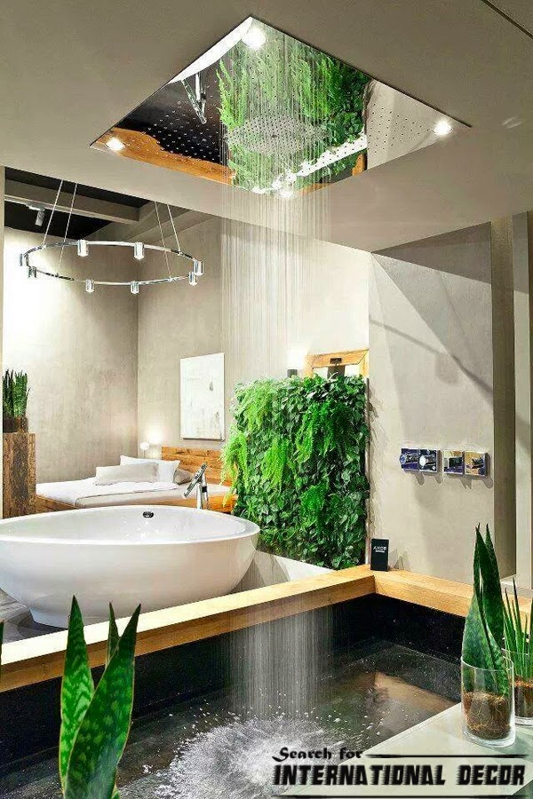 Bathroom Decorating Ideas - a shower curtain hung at the ceiling ...