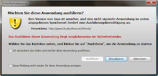 Java - Sicherheitswarnung (nicht signiert / abschaltbar / aeltere Java Versionen
