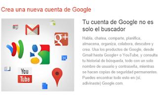 crear una cuenta en Google