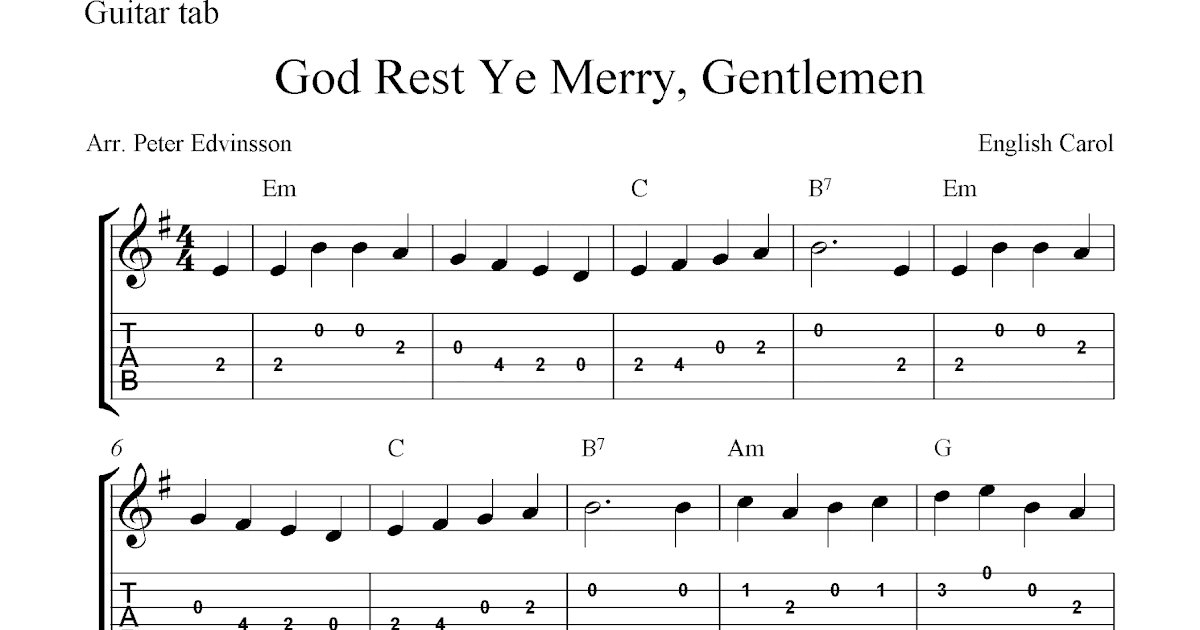 God Rest Ye Merry, Gentlemen, free Christmas guitar tab sheet music score