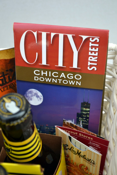 A Chicago street map adds a whimsical touch to this gift basket.