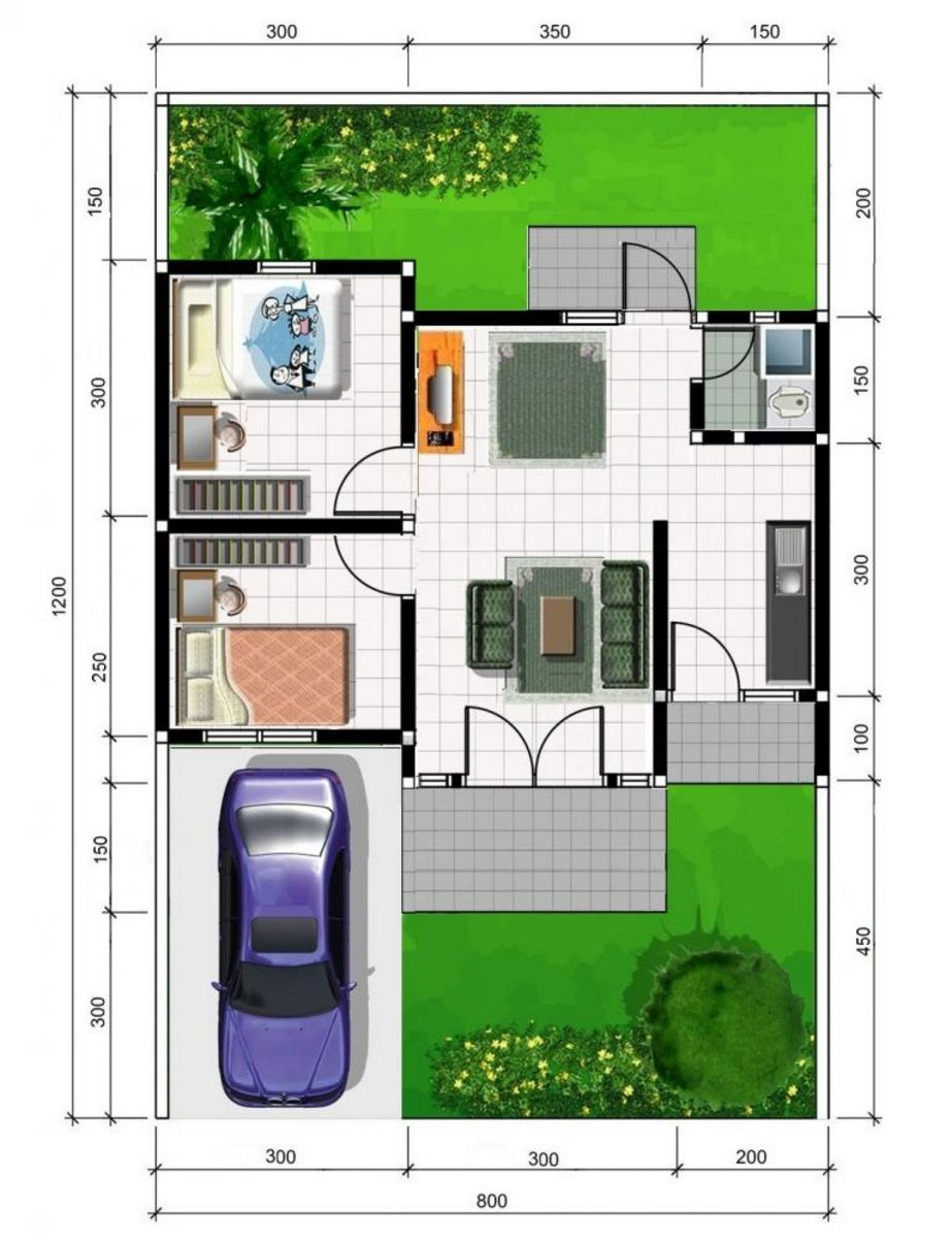 contoh denah rumah minimalis type 36 yang bagus